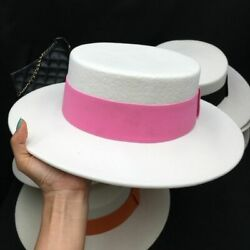 Winter Ladies White Wool Fedora Hats Candy Color Straps Eaves Female Flat Hat
