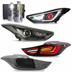 Headlights W/red Eye+taillights+d2s Led Bulb For Elantra 11-16 Sedan 13-14 Coupe