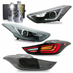 Free Shipping To Pr For 11-16 Elantra Sedan Coupe Head-andsmoke Taillight+h7 Bulbs