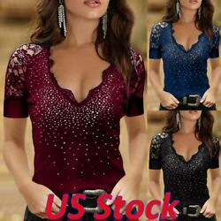 Women Slim Lace Long Sleeve Rhinestone Hot Drill V neck Top Blouse Tunic T Shirt $6.99