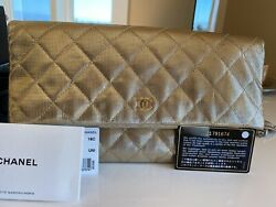 Auth Gold Metallic Classic Quilted Clutch Leather W Tag, Authentic Card.