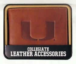 Miami Hurricanes Ncaa Embossed Leather Billfold Wallet New In Gift Tin