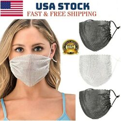 Sparkly Rhinestone Mesh Mask See through Crystal Jewelry Party Mask $6.99