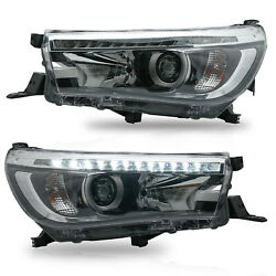 Customized Led Headlights W/ Sequential Turn Sig. For 16-19 Toyota Hilux