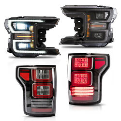 Customized Black Full Led Headlights + Clear Led Taillights For 18-20 F-150