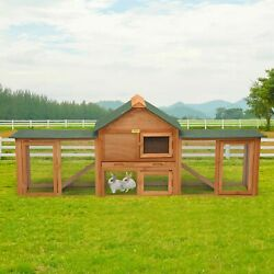 84and039and039l 2-story Wooden Rabbit Hutch Bunny Cage 4 Doors Chicken Coop Hen House New