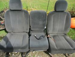 Used 2002-06 Dodge Ram 1500 Front Bucket Seat W/console Base Gray/cloth Clean