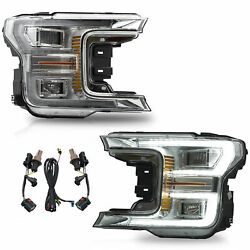 Chrome Housing Clear Headlight For Ford F150 2018 2019 2020 Led Turn Signal Lamp