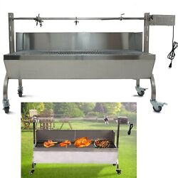Bbq Pig Rotisserie Grill Spin Roaster Stainless Steel Charcoal Wood Lamb Cooker