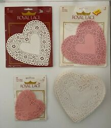 97 Royal Lace Heart Doilies Vintage Pink White Paper 4 And 6 Inch Hearts Craft