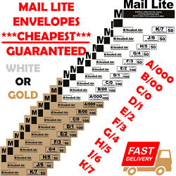 Mail Lite Lites Bubble Padded Envelopes Mailer Bags All Sizes White And Gold Uk