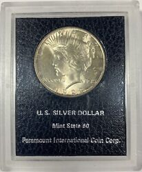 1923 United States Silver Peace Dollar - Bu Uncirculated - Paramount Holder