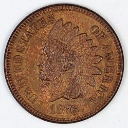 1876 United States Indian Head One Cent Penny - Au About Uncirculated Condition