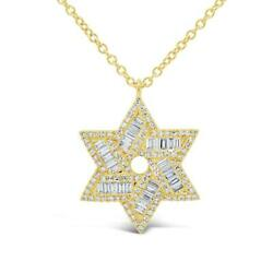 Baguette Diamond Star Of David Pendant 14k Yellow Gold Natural Necklace 0.73ct F
