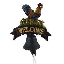 Rooster Welcome Dinner Bell Cast Iron Hand Painted Antique Style Heavy Duty
