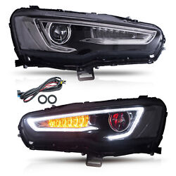 Free Shipping To Pr For 08-17 Lancer All Black Led Headlights With Demon Eyes
