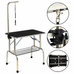 32#x27;#x27; Large Portable Pet Dog Cat Grooming Table Dog Show W Arm amp; Mesh Trayamp;Noose