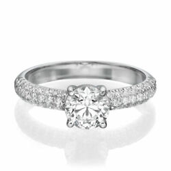 1 3/4 Ct Diamond Engagement Ring Round Cut F/si1 14k White Gold Size 7