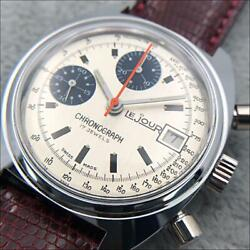Lejour Chronograph Ss Cal.7765 Vintage Menand039s Watch 35mm Belt Aftermarket New