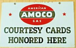 Vintage Original Amoco Two-sided Hanging Porcelain Sign - Very Good Condition