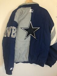 Vintage Starter Dallas Cowboys Hoody Quilted Jacket Team Nfl Collection Mens L