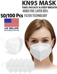 [50 / 100 Pcs] 5 Layers Face Mask Mouth And Nose Protector Respirator Masks Green