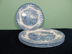 Set Of 4 Churchill The Brook Blue 10 Dinner Plate Floral Edge Cottage House Euc
