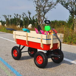 Outdoor Wagon All Terrain Pulling Children Kid Garden Cart With Wood Railing Red