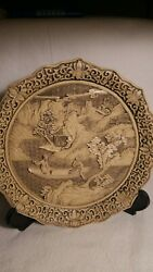 Rare Antique Chinese Cream Cinnabar Lacquer Deep Carved Plate W/ Landscape 9.5