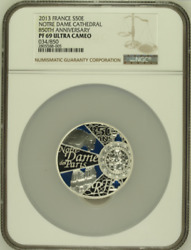 2013 France S50e Silver 5oz Notre Dame Cathedral 850th Anniversary Ngc Pf69uc B