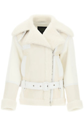 New Mr And Mrs Italy Cotton Jacket With Nappa And Shearling Inserts Xjk0171 Off Wh