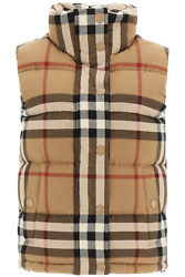 New Theford Check Down Vest 8036135 Birch Brown Authentic Nwt