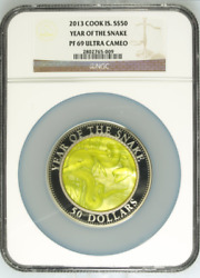2013 S50 Cook Islands 5oz Silver Mother Of Pearl Year Of The Snake Ngc Pf69uc