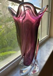Murano Amethyst And Clear Open Pedal 11 Vase