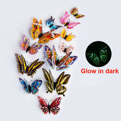 12pcs 3D Glow in The Dark Butterfly Stickers Decal Wall Decals Home Decor Magnet