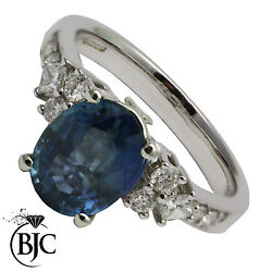Bjcandreg 18ct White Gold Sapphire And Diamond Solitaire Size L Engagement Ring R48
