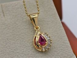 Bjc® 14ct Yellow Gold Natural Ruby And Diamond Teardrop Pendant And Necklace P29