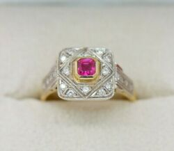 Bjc 18ct Rubis Or Jaune And Diamant Style Vintage Taille N Royalty Bague R300