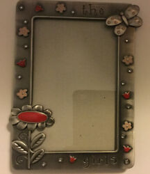 """Fetco Home Decor 4 X 6 Metal Picture Frame """"the girls"""" Flowers And Butterfly"""