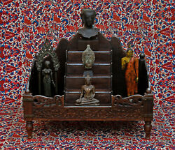 Antique Indian Carved Wood Silver Mounted Display Shrine Hindu Buddha