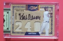 Hank Aaron 2008 Playoff Prime Cuts Autographed Signed Triple Bat 5/10 Auto Relic