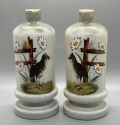 Pair Antique Bristol Glass Bottle Vase Clambroth Birds And Daisies W/ Fence 7-1/2andrdquo