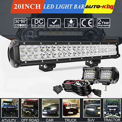 20 Cree Led Work Light Bar Flood Spot Combo Offroad Tri Row Driving Lamp+wiring