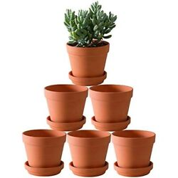 Terra Cotta Pots With Saucer- 6-pack Large Terracotta Clay 5.5'' Ceramic Pottery