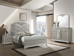 New Modern Champagne Silver Queen King 4pc Bedroom Set Glam Furniture Bed/d/m/n