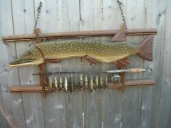 Hand-made Folk Art Pike Fish Sign With Old Rod/reel And Glass Eyed Wooden Pikies