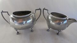 Arts And Crafts Don Pewter Hammered Milk Jug And Milk Jug Cooper Brothers Sheffield