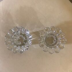 2 Piece Set Glass / Crystal Candle Holders Tulip Design Made By Kig Lovely