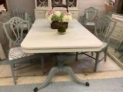 Vintage Painted Dining Room Table W 6 Chairs White Light Blue Double Pedestal
