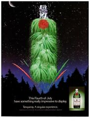 1989 Tanqueray Gin Fourth Of July Fireworks Bottle Vintage Print Advertisement